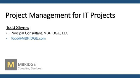 Start Consulting After Mba Nonresident Llc by It Project Management By Todd Shyres