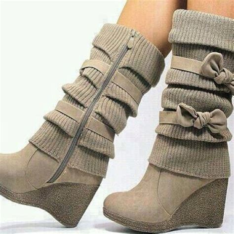 Wedge Bow Boots ilyenem vaaaaan beige wedge bow boots fashion