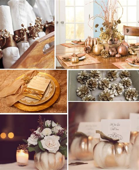 Theeffortlesschic gold thanksgiving table decorations