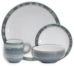 Denby azure coast sixteen piece dinner set beach style dinnerware
