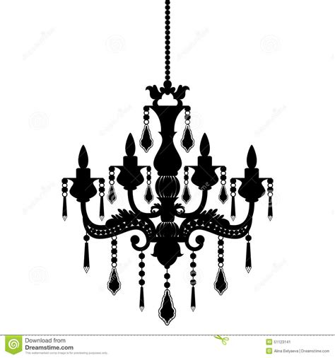 Rococo Crystal Chandelier Chandelier Silhouette Isolated On White Background Stock