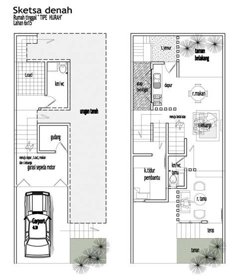 denah rumah 2 lantai 10 x 20 2017