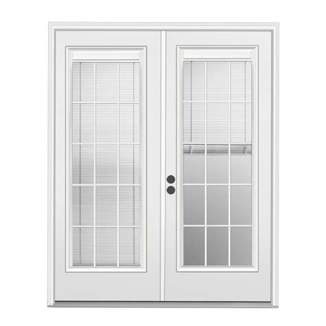 Patio Doors With Blinds Inside Glass Shop Reliabilt 71 5 In X 79 5 In Blinds Between The Glass Right Inswing White Steel