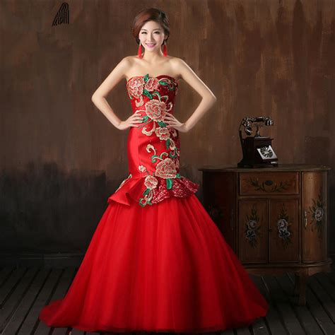 flower pattern wedding dress chinese style red satin sequin wedding dress with flower