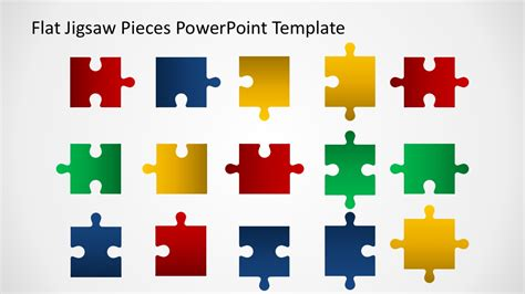 Editable Flat Jigsaw Pieces Powerpoint Template Slidemodel Jigsaw Template For Powerpoint