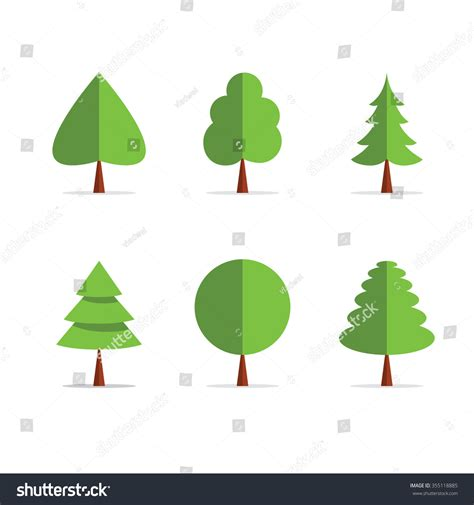 Origami Tree Template Icons Green Colors Stock Illustration 355118885 Shutterstock Tree Paper Template