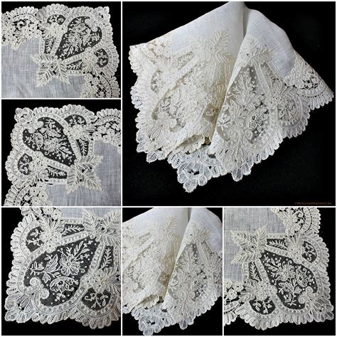 Handmade Handkerchief Patterns - 19th century belgian handmade applique application