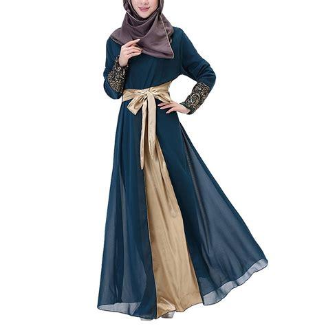 Floral Dress Maxi Gamis Muslim by Aivtalk Muslim Floral Chiffon Sleeves Maxi