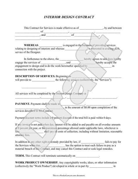Agreement Letter For Design interior design contract agreement template with sle
