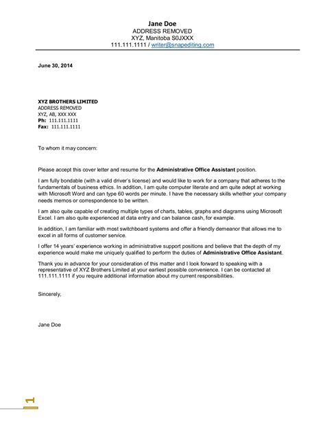 sample cover letter for administrative assistant ideal vistalist co