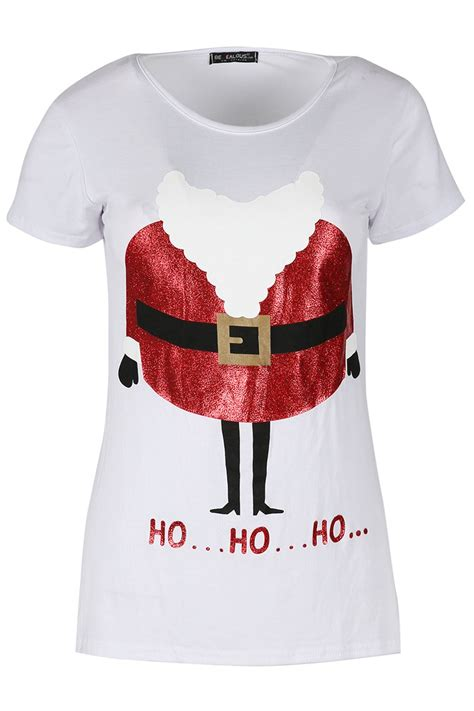 Kaos Santa Mustache Ho Ho Ho womens headless beard glitter ho ho ho santa t shirt top