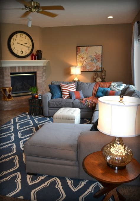 casual orange blue  gray family room traditional