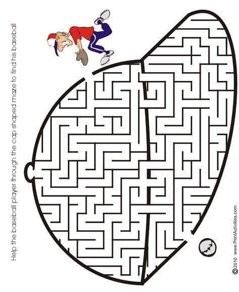 printable baseball activity sheets baseball maze free printable baseball maze