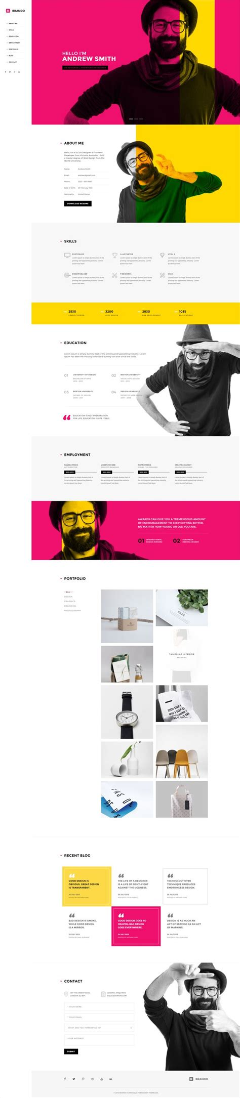 designspiration theme 12 best personal pages web templates images on pinterest