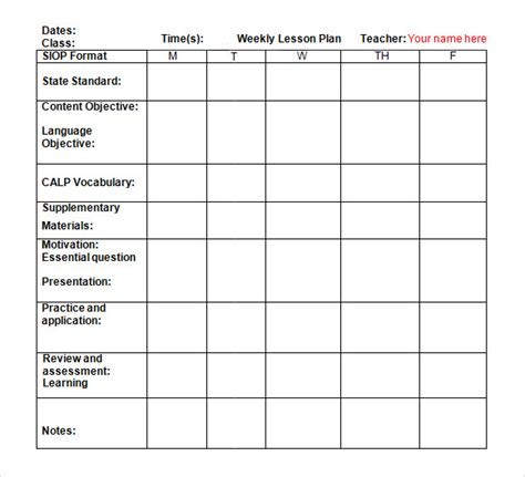 weekly lesson plan template doc plan template
