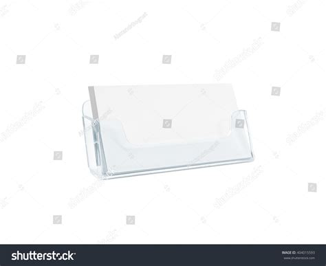 blank plastic card template white business card mockup holder isolated plastic