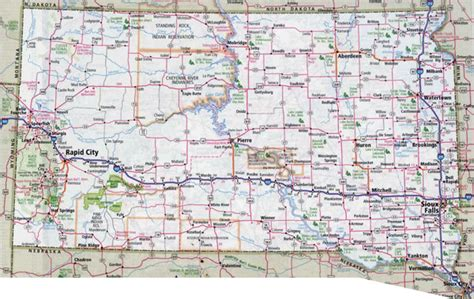 south dakota usa map large detailed roads and highways map of south dakota with