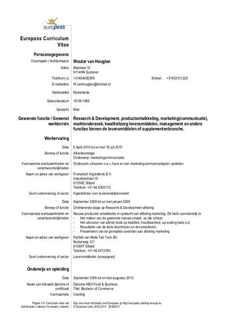 Curriculum Vitae Engels Template Curriculum Vitae Wouter Heugten