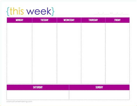 One Week Template 5 1 week calendar template basic appication letter