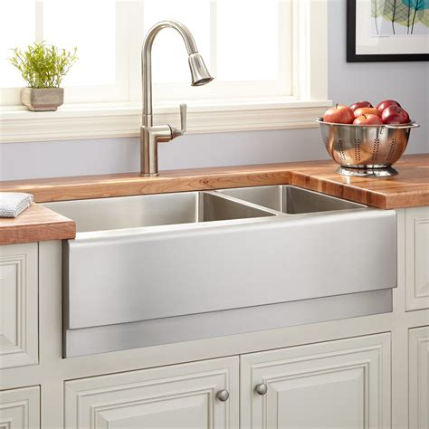 Stainless Farmhouse Kitchen Sinks 33 Quot Optimum 70 30 Offset Bowl Stainless Steel Farmhouse Sink Beveled Apron Kitchen