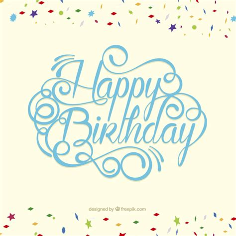 Happy birthday card in lettering style Vector   Free Download