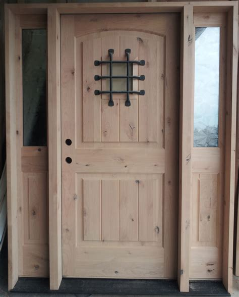 Knotty Alder Wood Rustic Entry Door Assembled And Ready To Knotty Alder Exterior Doors