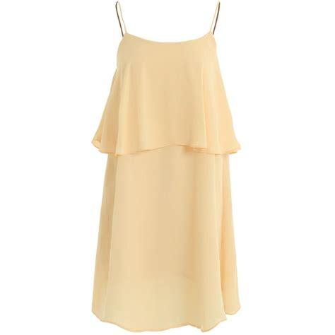 Swing Chiffonkleid by Damen Kleid Einfarbig Pastell Doppel Lagen Chiffon Riemen