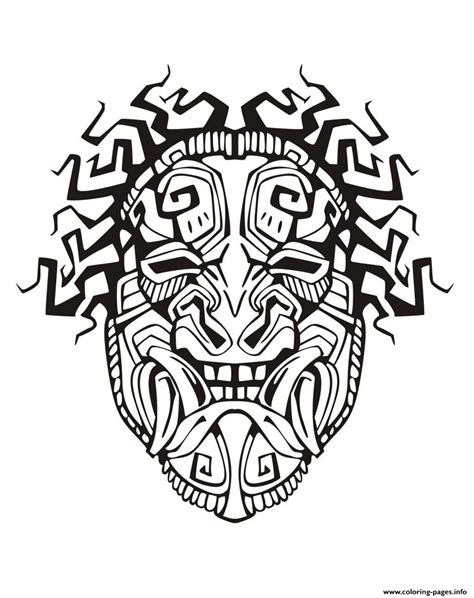 printable aztec mask adult mask inspiration inca mayan aztec 1 coloring pages