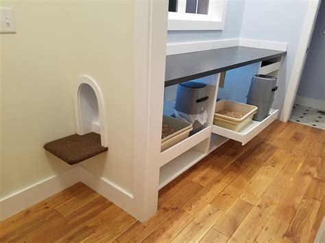 ikea hack spoiled kitty comfort station hidden in mudroom space