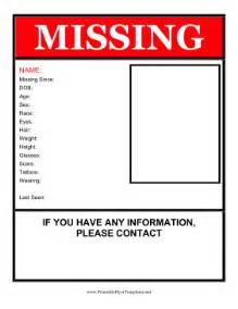 template is missing missing person flyer