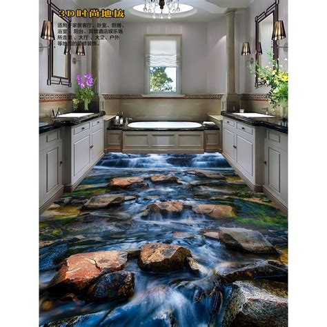 3D pvc flooring custom wall sticker 3D Stream Stone floor
