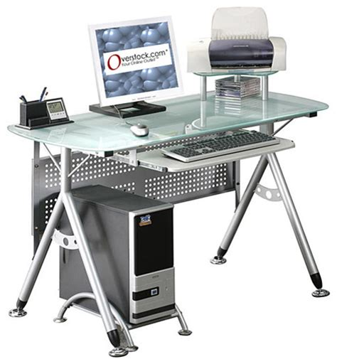 Best Ergonomic Computer Desk with Ergonomic Tempered Glass Top Computer Desk Contemporary Desks And Hutches By Overstock
