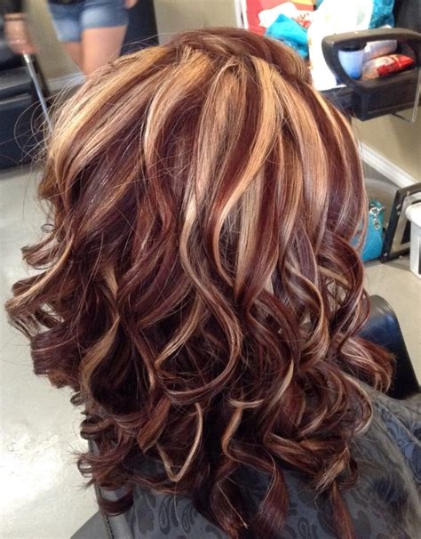 blonde and burgundy high and low lights for short ladies hairstyles dark brown hair with blonde and burgundy highlights