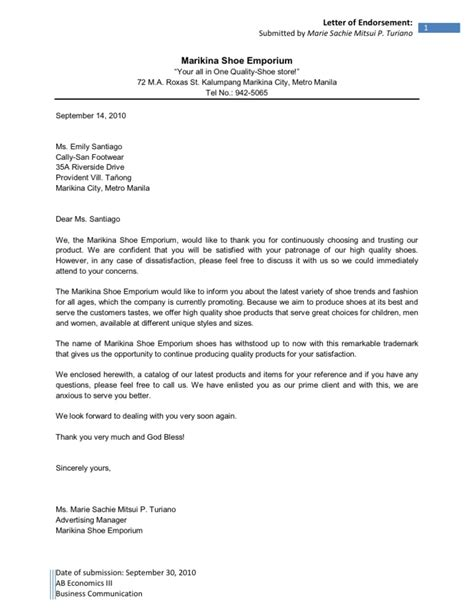 Endorsement Letter For New Business Letter Of Endorsement Sle