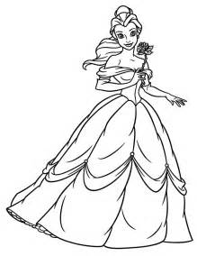 princess belle holding flower coloring page enjoy