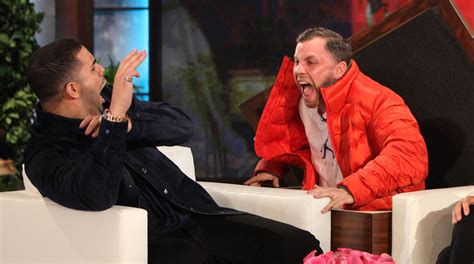gets pranked with drake with gets scared in epic prank on degeneres show