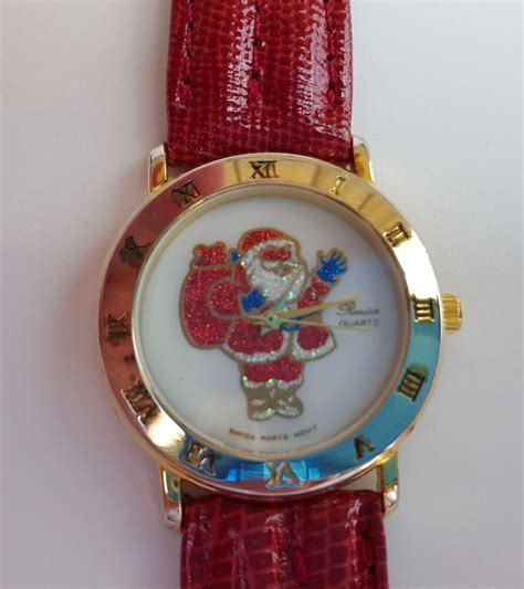 santa christmas  ronica quartz red leather band  battery included ebay