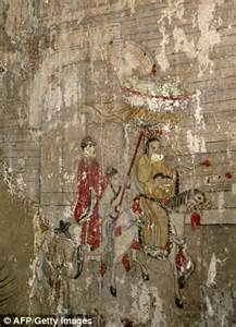 Asian Wall Mural chinese monastery restores ancient wall painting to look