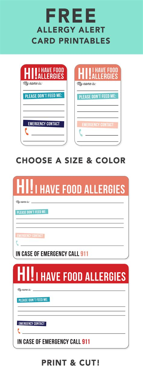 food allergy card template for children bravelets free allergy alert printables