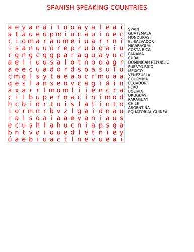 printable word search of spanish speaking countries spanish speaking countries wordsearch by marivi sf