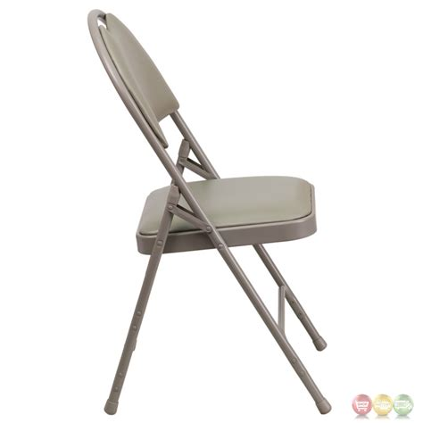 Large Folding Chair by Hercules Large Gray Vinyl Metal Folding Chair W
