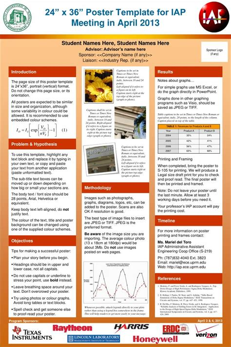 downloadable poster templates ppt 24 x 36 poster template for iap meeting in april