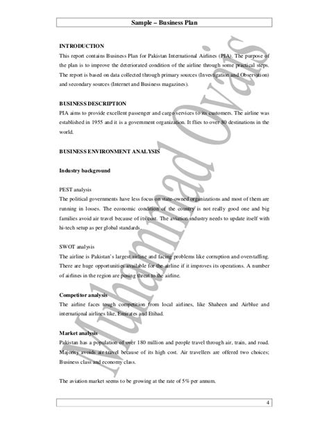 business plan report template 05 practical writing sle pia business plan