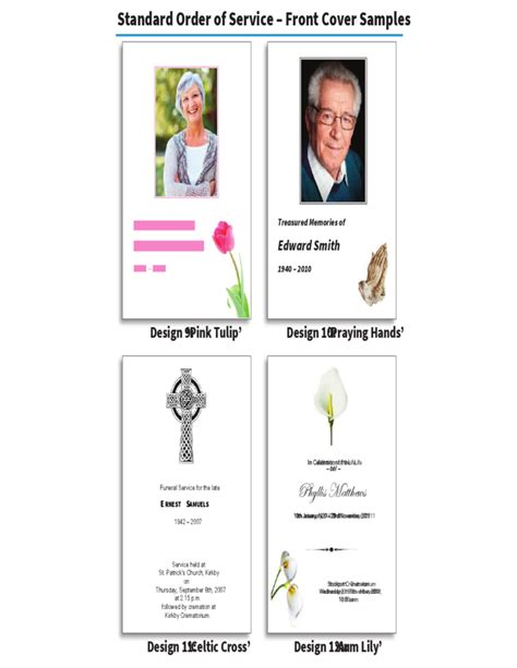 in memoriam cards template order of service brochure in memoriam cards free