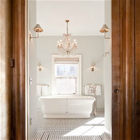 chandelier above bathtub crystal chandelier over tub contemporary bathroom
