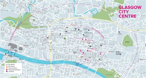 printable map glasgow city centre glasgow tourist map