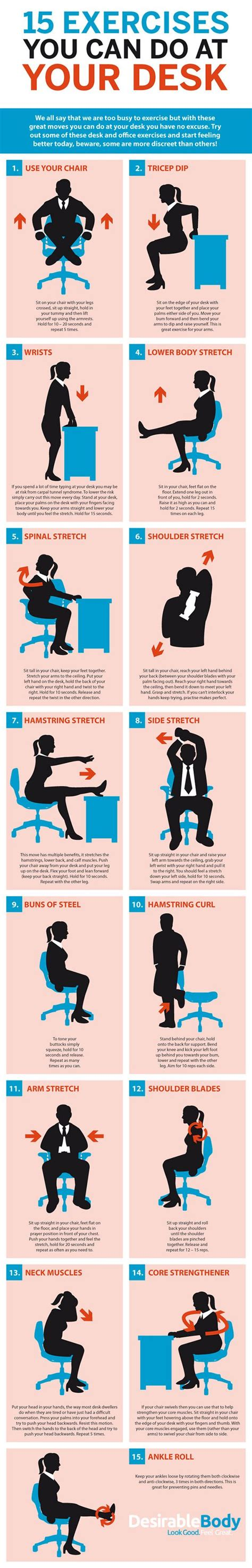 7 Exercises You Can Do While Waiting In Line by This Graphic Shows Bunch Of Desk Based Exercises For The