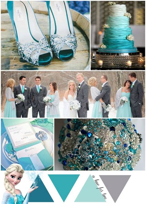 teal blue and aqua elsa themed wedding frozen color scheme disney wedding a hue