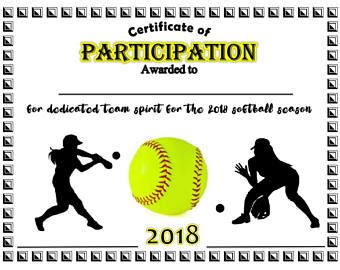 softball certificate templates free sports certificate etsy