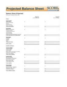projected balance sheet template